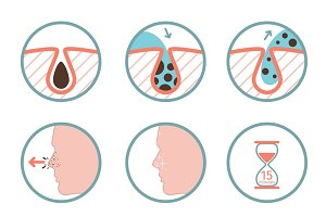 Facial treatments colored icons
