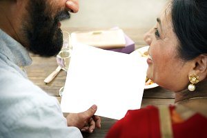 indian couple dining together (PNG)