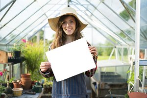 farmer girl holding paper bag (PNG)