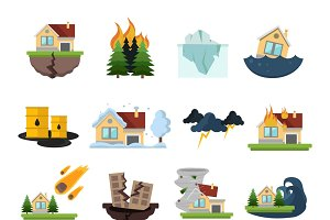 Disaster Damage Icon Set