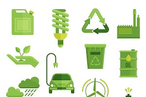 Ecology Decorative Flat Icons Set