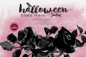 Black roses Halloween clipart
