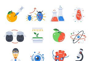 Biotechnology Colored Icon Set