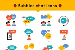 Chat Flat Icon Set