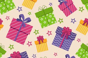 Gift box seamless pattern