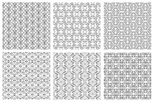 Seamless monochrome floral patterns