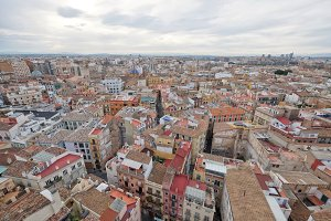 View of the roofs of Valencia, Spain