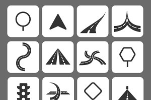 Set of road traffic icons