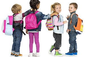 Children Carrying Backpack (PNG)