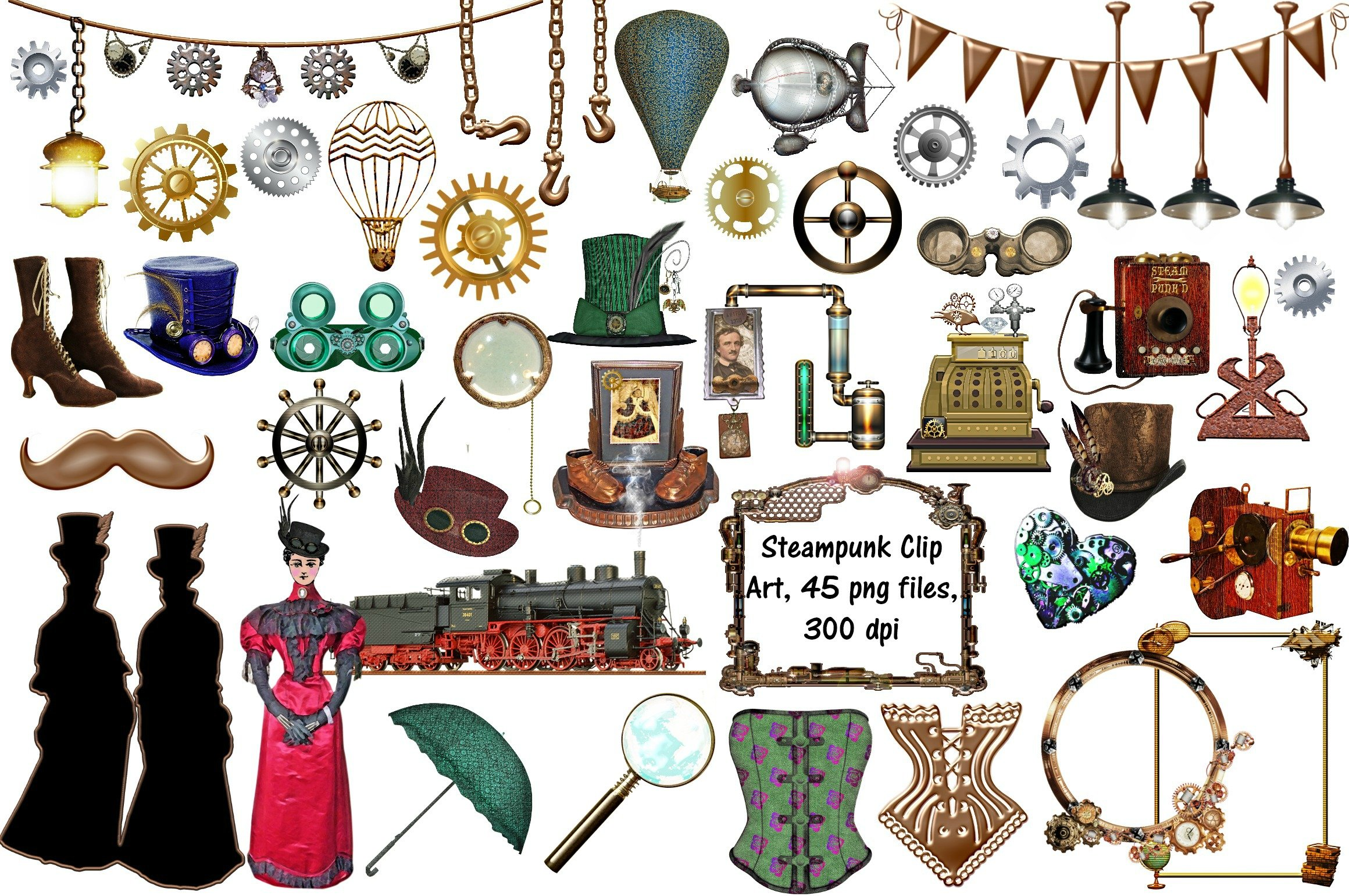 Steampunk Clip Art 45 Png Files Illustrations