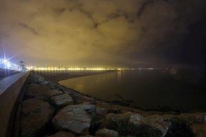 Valencia Bay at night, Spain