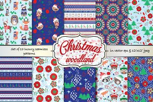 Christmas Woodland seamless patterns