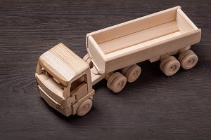 Wooden toy car, top view.