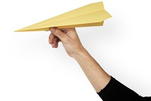 Hand Hold Papercraft Airplane (PNG)