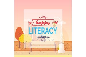 Happy Literacy Day Wish Autumn Vector Illustration