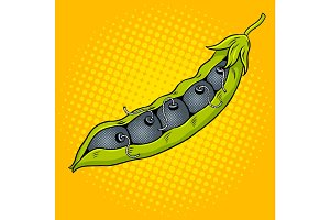 Pea pod with bombs pop art vector illustration