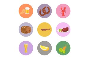 Food and Drinks Vector Illustration on White
