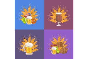 Four Sets of Beer Presentation Vector Illustration