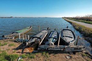 Fisher boats docked at lake