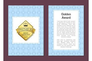 Golden Label with Text on Vector Illustration