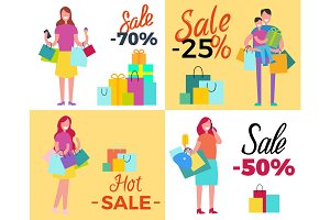 Set of Sale Propositions Vector Illustration