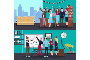 Corporate Party in Office on Vector Illustration