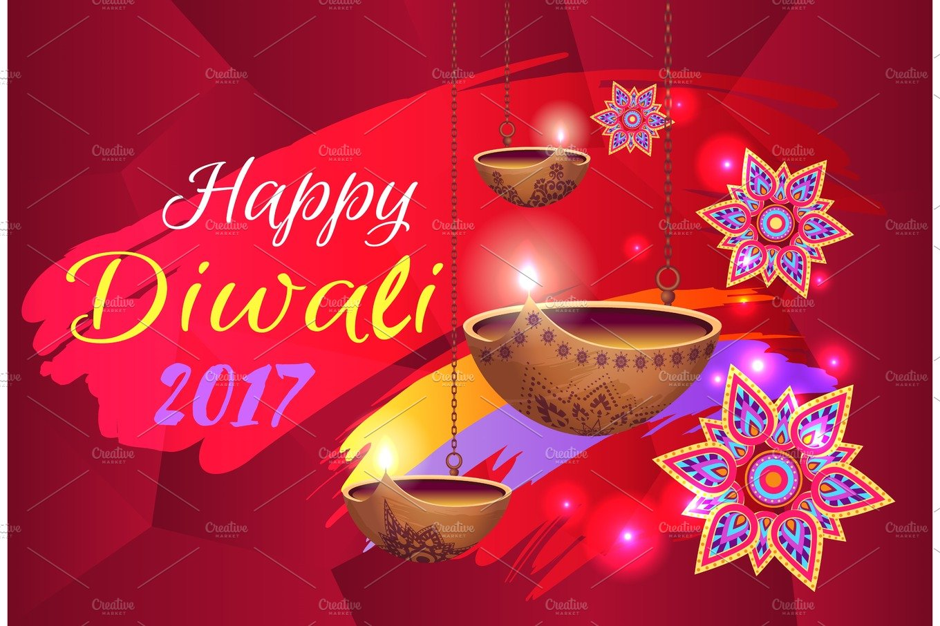 Happy Diwali 2017 Banner With Flowers And Lamps Holiday Photos