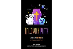 Halloween Party Poster on black background
