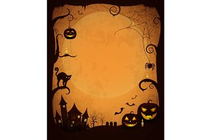 Scary Dark Halloween Poster with Spooky Objects