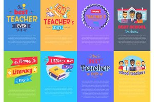 Vivid Posters on School Theme Vector Illustration