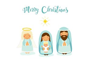 Cute hand drawn characters of Nativity scene