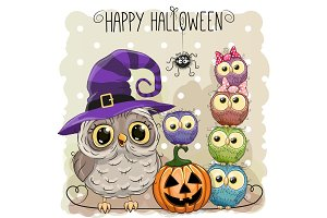 Halloween card with owls