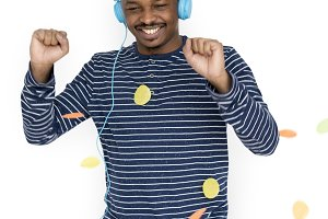 African Man Happy Headphones (PNG)