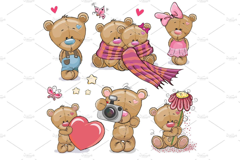 Set of Cute Cartoon Teddy Bear ~ Illustrations ~ Creative ...