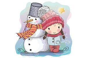 Cute Girl and snowman