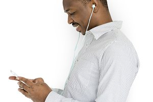 African Man Listening Music (PNG)