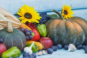 Pumpkin, sunflowers and different ripe vegetables