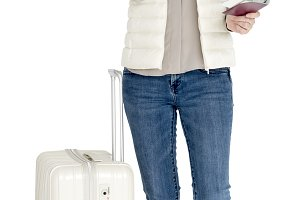 Woman Mobile Luggage Traveling (PNG)