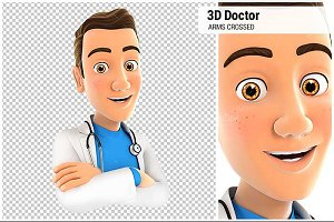 3D Doctor with Arms Crossed