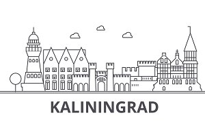 Kaliningrad architecture line skyline illustration. Linear vector cityscape with famous landmarks, city sights, design icons. Landscape wtih editable strokes