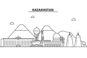Kazakhstan architecture line skyline illustration. Linear vector cityscape with famous landmarks, city sights, design icons. Landscape wtih editable strokes