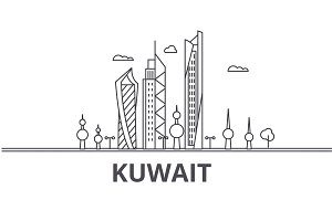 Kuwait architecture line skyline illustration. Linear vector cityscape with famous landmarks, city sights, design icons. Landscape wtih editable strokes