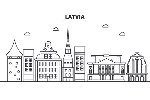 Latvia architecture line skyline illustration. Linear vector cityscape with famous landmarks, city sights, design icons. Landscape wtih editable strokes