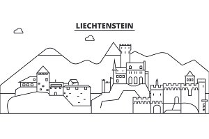 Liechtenstein architecture line skyline illustration. Linear vector cityscape with famous landmarks, city sights, design icons. Landscape wtih editable strokes
