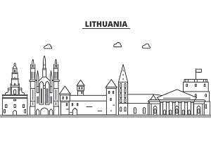 Lithuania architecture line skyline illustration. Linear vector cityscape with famous landmarks, city sights, design icons. Landscape wtih editable strokes