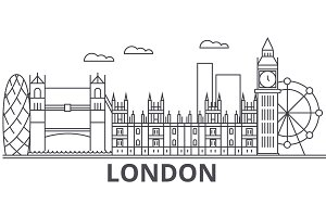 London architecture line skyline illustration. Linear vector cityscape with famous landmarks, city sights, design icons. Landscape wtih editable strokes