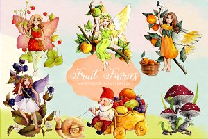 Watercolor Fruit Fairy Cliparts