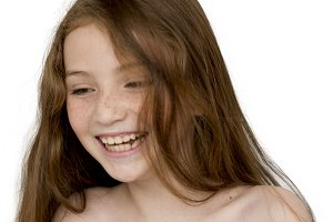 Young Girl BareChested Smiling (PNG)