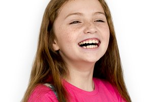 Caucasian Young Girl Smiling (PNG)