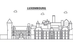 Luxembourg architecture line skyline illustration. Linear vector cityscape with famous landmarks, city sights, design icons. Landscape wtih editable strokes